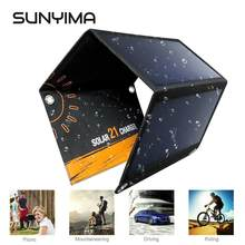 SUNYIMA Portable Foldable 21W Solar Charger Powerport Sun Power Panel Charge with 2 USB Port Charging Board for iPhone Samsung(China)