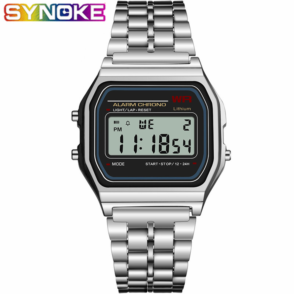 SYNOKE Men's Digital Watches Women Retro G LED Digital Shock Sport Waterproof Men Wristwatches Relogio Masculino Gold Watch