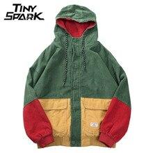 Bluza z kapturem w stylu Hip Hop kurtka luźna męskie zimowe sztruksowa kurtka Harajuku czerwona patchworkowa jesień kurtka Bomber z kapturem płaszcz Reggae jamajka