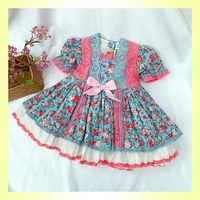 Весна 2020, Новое поступление, испанское милое Хлопковое платье в стиле Лолиты с цветочным принтом для девочек, детские платья с бантом для де...