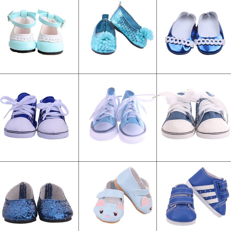 Boneca azul série sapatos na moda casual adequado 18 Polegada boneca de bebê americano e 43cm bonecas de bebê renascido, nossa geração, presente para a menina