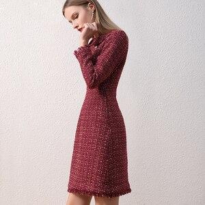 Image 3 - Only Plus OL Woolen Winter Dress For Women Peter Pan Collar Tweed Dress Vintage Wool Plaid Wine Dresses Warm Elegant Button