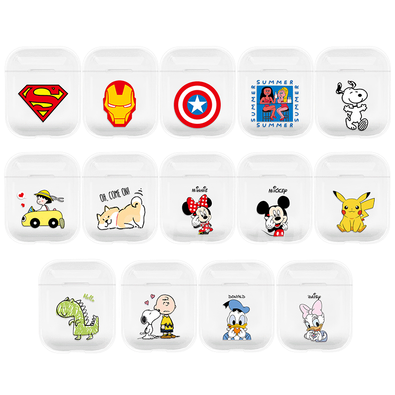 Cute Cartoon Wireless Bluetooth Transparent Earphone Case For Apple AirPods 1 2 Luxury Hard PC Headphones Case Protective Cover