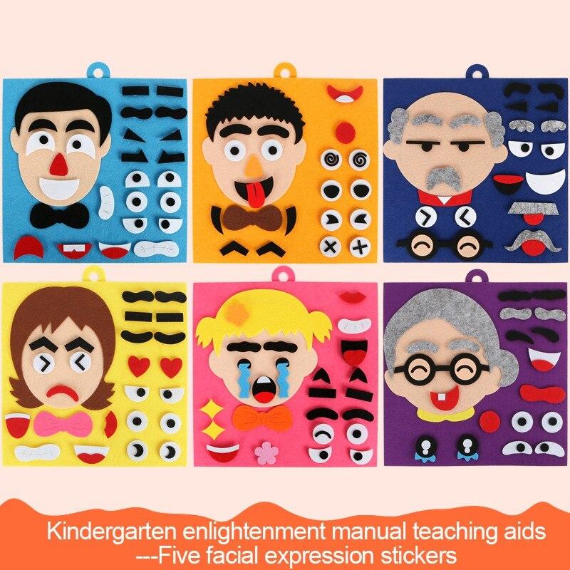 Детские развивающие игрушки, сделай сам, эмоция, мимика, изменение, нетканые наклейки, головоломка, игрушки для малышей