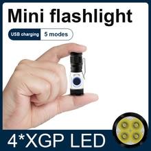슈퍼 작은 랜턴 포켓 미니 LED 손전등 USB 충전식 휴대용 방수 화이트 라이트 키 체인 토치 10180 배터리