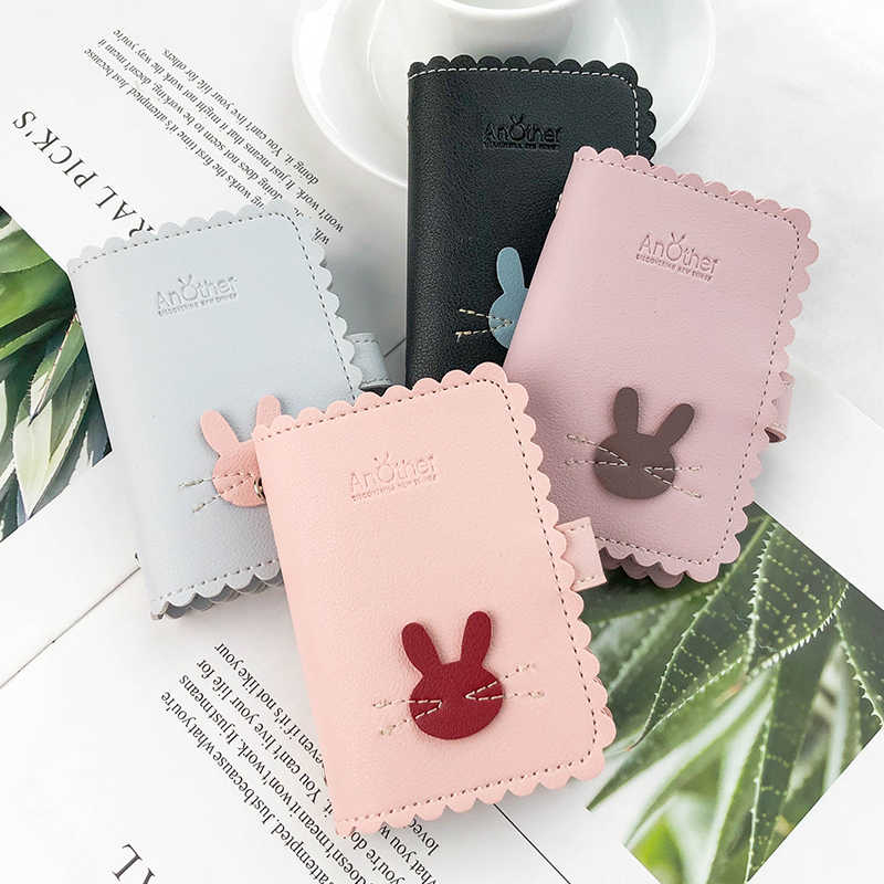 JANE'S LEATHER Cute Rabbit Women 24 Slots Card Holder Case Bags Wallet High Quality Passport Cover For Femme Carteira Mujer 2019