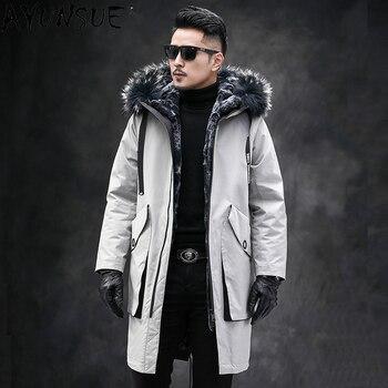 AYUNSUE 2020 chaqueta De invierno para Hombre, chaqueta con capucha para Hombre, abrigo grueso, Parkas De piel De conejo auténtico para Hombre LXR532