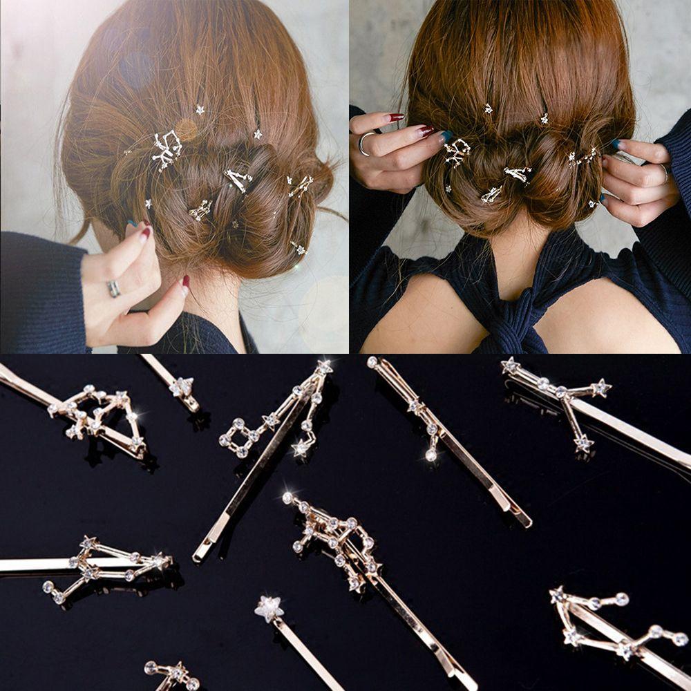 Crystal Hair Clip Twelve Constellations Hairpin Bride Hair Pins Hair Jewelry