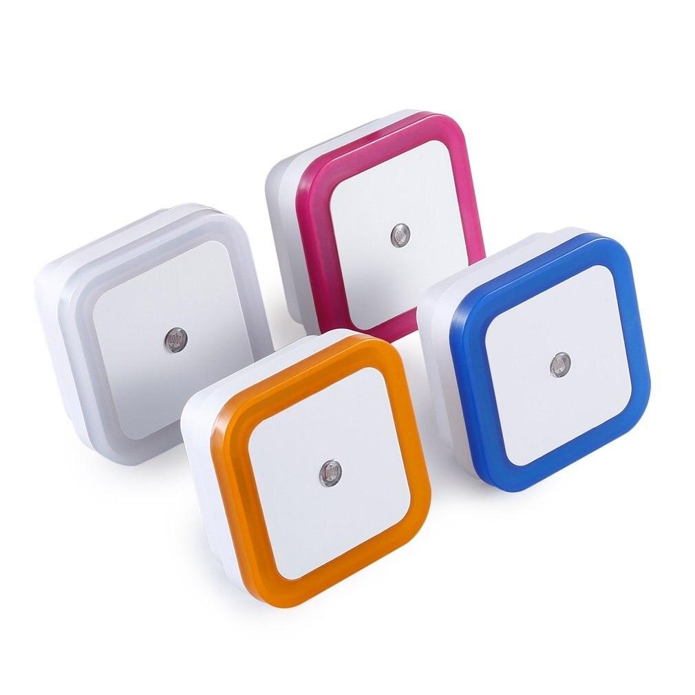 4PCS 1W Light Sensor Control Night Light US Plug For Kids Baby Nursery Bedroom Hallway Square Shape Color Random