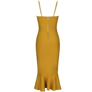 Image 5 - Ocstrade Mermaid Bandage Vestido Midi 2020 Sexy New Arrival  Ginger Yellow Rayon Women Sleeveless Bandage Bodycon Party Dresses