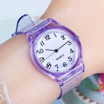 UTHAI CQ25 kids watch children quartz watches wristwatch jelly for girl a boy clocks sport baby student Transparent plastic 1