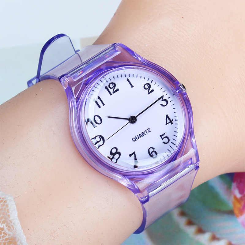 UTHAI-montre CQ25 pour enfants, montre à quartz, montre-bracelet en plastique transparente pour filles et garçons