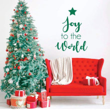 Christmas Wall Sticker Joy To The World Quotes Vinyl Home Decor Living Room Family Decals Interior Wallpaper Murals 3703