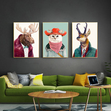 5D DIY Cartoon Moose Dog Cat Owl Giraffe Hedgehog Wall Art Diamond Painting Canvas Nordic Animal Mosaic Decor