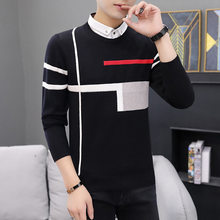 Fake Two Fashionable Casual Sweaters Turn-down Collar Pullovers Casual Men Winter New Long Sleeve Sweater Fall Sweater(China)