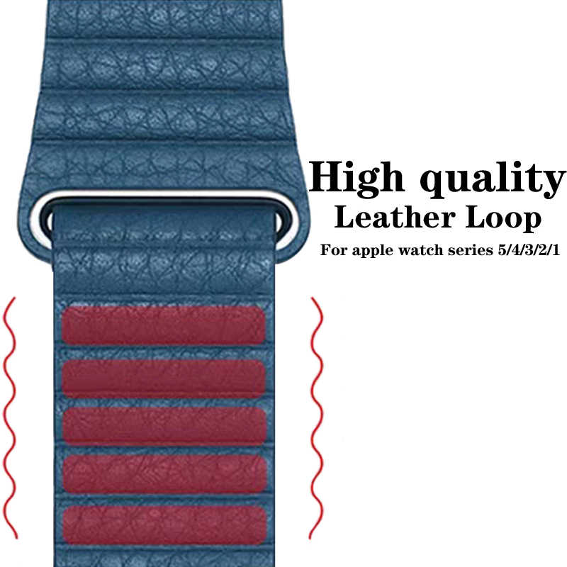 Correa de cuero genuino para apple watch banda 42mm 38mm 44mm 40mm Correa magnética para iwatch series 5/4/3/2/1 pulsera