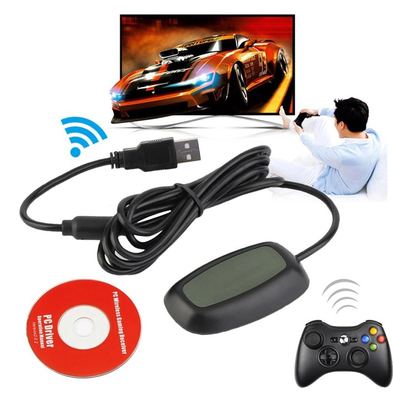 <font><b>Wireless</b></font> Gamepad <font><b>Controller</b></font> USB Receiver <font><b>Adapter</b></font> For Microsoft <font><b>Xbox</b></font> <font><b>360</b></font> Gaming Console <font><b>Controller</b></font> USB <font><b>PC</b></font> Receiver With CD Driver image