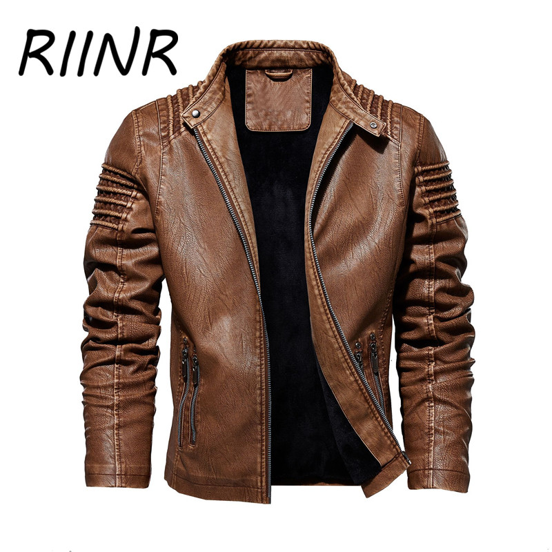 RIINR Autumn And Winter Leather Clothing European And American Fashion Leather Jacket Men's Plus Size Leather Clothing M-5XL