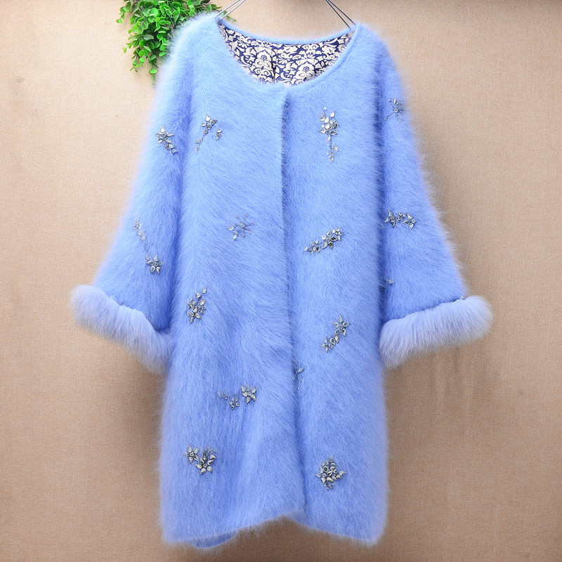 female women fashion blue beading hairy mink cashmere knitted fur sleeves slim cardigans angora fur jacket winter coat sweater