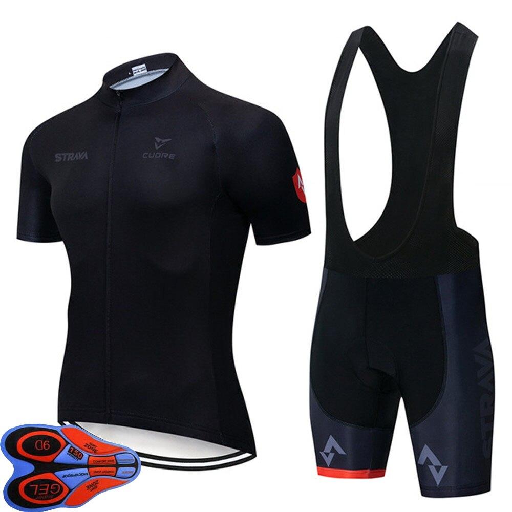 2020 STRAVA Black Cycling Jersey Quick Dry bib shorts Set 9d pad Ropa Ciclismo uniformes Maillot MTB Bike Clothing SportsWear A7|Cycling Sets| |  - title=