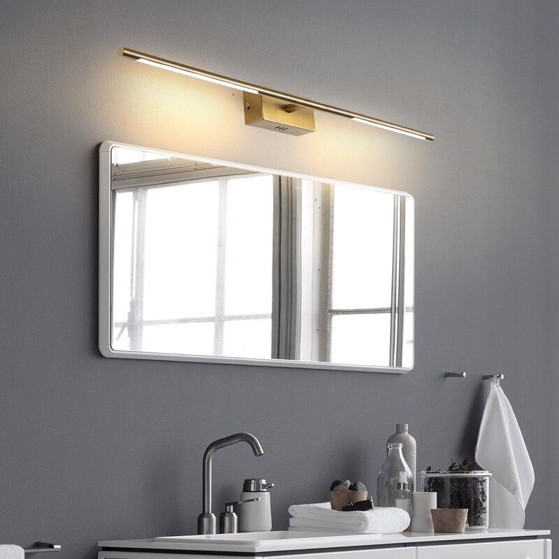 luminaria led dourada preta para espelhos 04