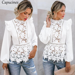 Image 5 - Capucines Lace Splicing Ruffled High Waist White Shirts Blouse Women Hollow Out Embroidery Keyhole Back Elegant Summer Chic Tops