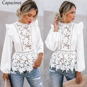Image 5 - Capucines Spitze Spleißen Rüschen Hohe Taille Weiß Shirts Bluse Frauen Aushöhlen Stickerei Keyhole Zurück Elegante Sommer Chic Tops