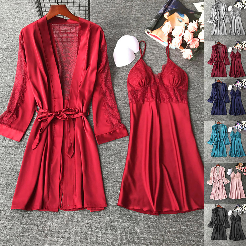 Women Faux Silk Gown Set Sheer Lace Sexy Nightdress Bathrobe Set Satin Sleepwear Night Dress Lady's Sex Nightie Sleep Lounge 3XL