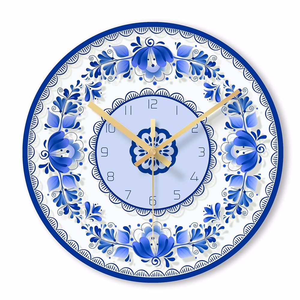 Chinese Classic Wall Clock Blue And White Porcelain Home Decorative Wall Clocks Quartz Round Clocks Glass Wall Watch Klok 50w148