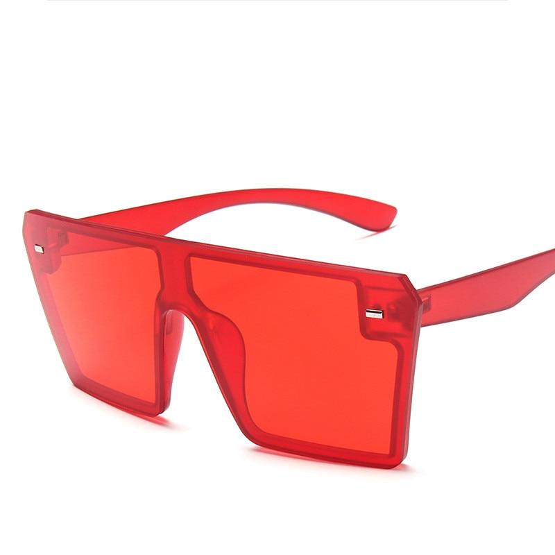 Oversized Square Sunglasses Women 2021 Luxury Brand Fashion Flat Top Red Black Clear Lens One Piece Men Gafas Shade Mirror UV400 13