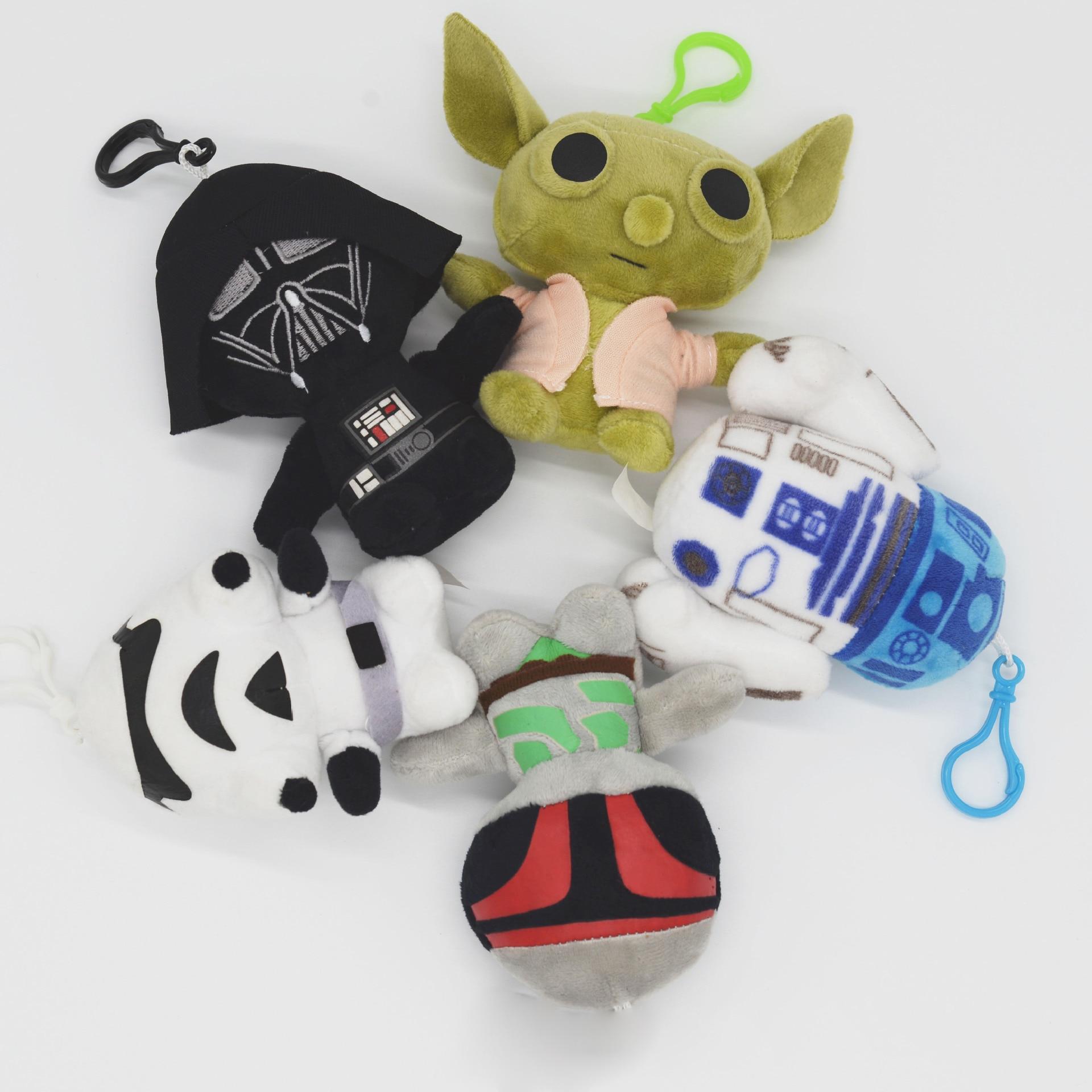 Star Wars Plush Soft Keychain Toys Starwars Yoda R2D2 Darth Vader White Imperial Army Plush Keychain Doll For Bag Decals