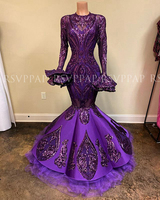 Gorgeous Sexy Mermaid Long Sleeve Prom Dresses 2020 Purple Sequin Black African Girl Party Long Prom Dress