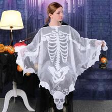 OurWarm 60*60inch Scarf Halloween Poncho Skull Custom for Women White Lace Skeleton Party Favor Drop Shipping