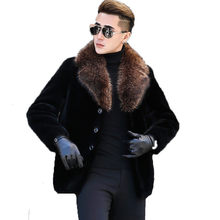 Men's Winter Jacket Real Sheep Shearling Fur Coat Men Clothes 2020 Raccoon Fur Collar Warm Jackets Plus Size DXL1642 MY1708(China)