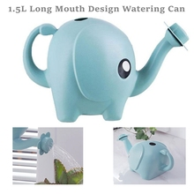 1.5L Cute Cartoon Elephant Watering Can Home Patio Lawn Long Mouth Design Gardening Plastic Plant Outdoor Flower Water Can