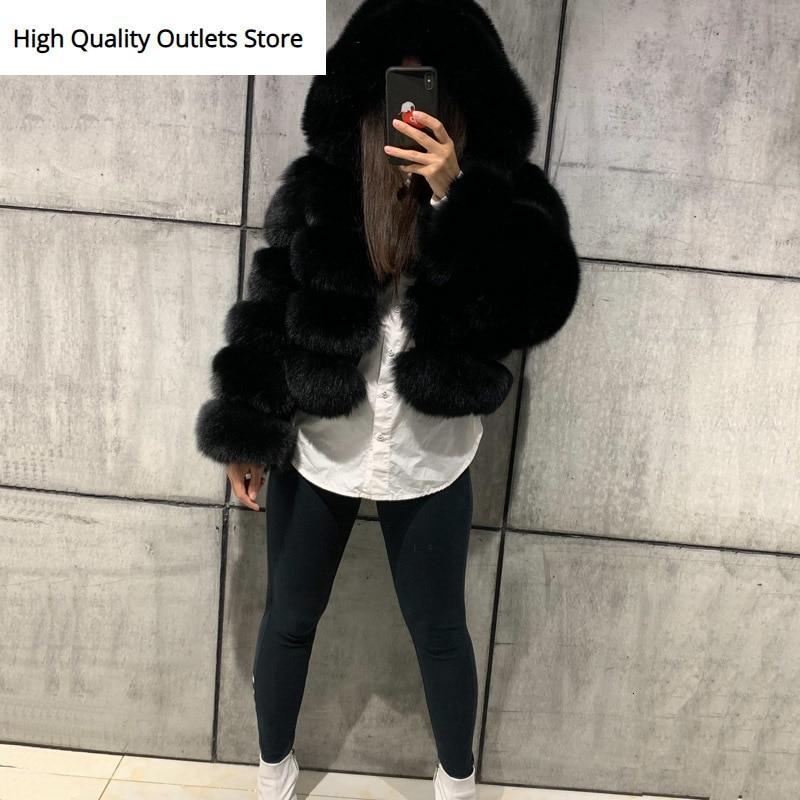 Natural Fur Jacket Women Real Fox Fur Jacket Fox Fur Bombers Hooded