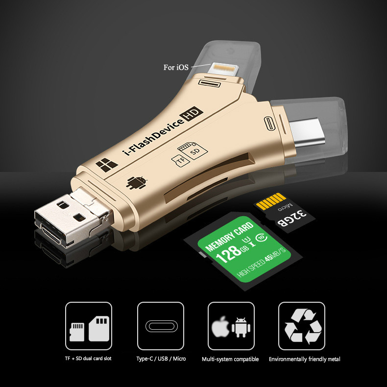 4 In 1 Card Reader USB Type-C Micro USB Lighting High-speed Universal Card Reader For Apple Android Computer Extension Headers
