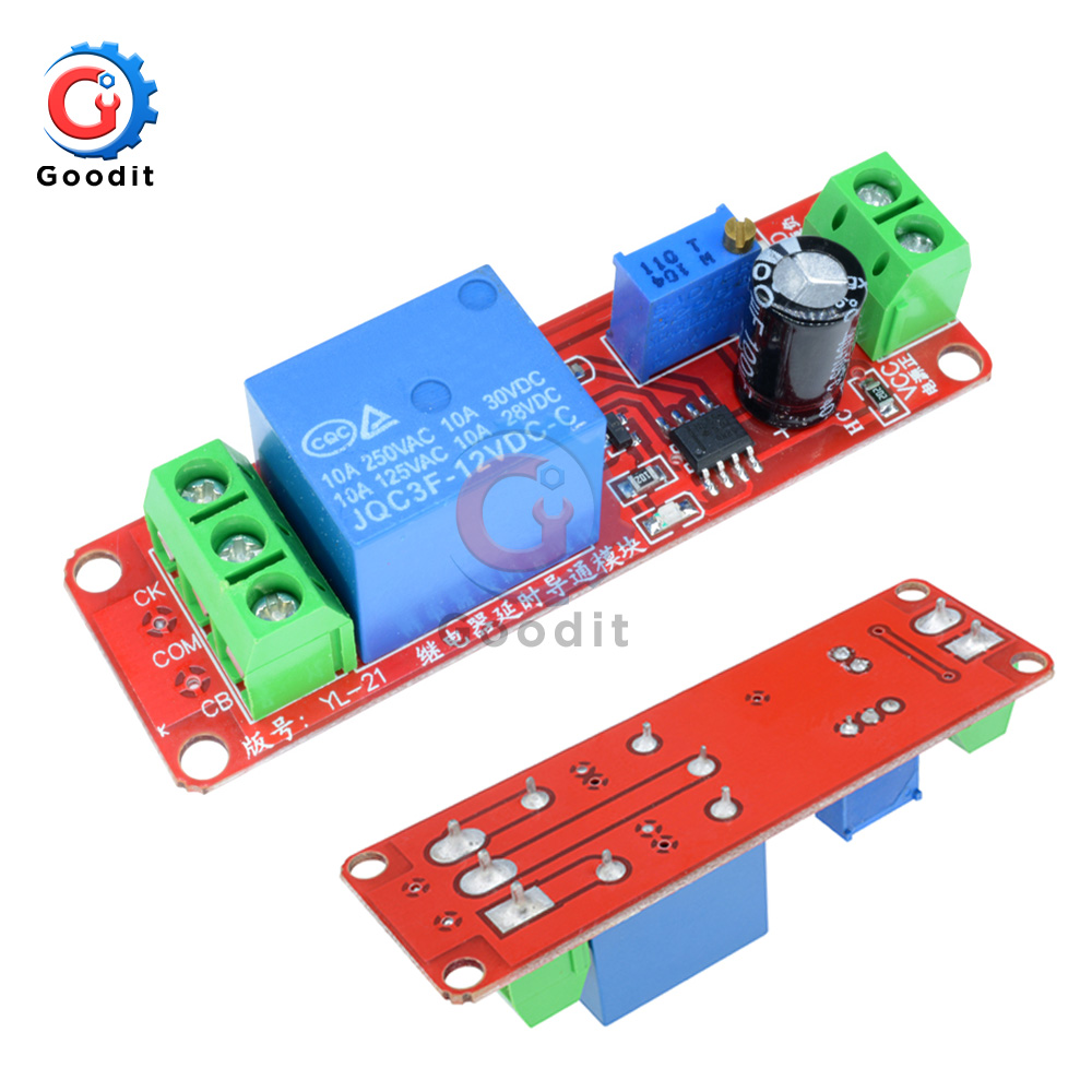 10PCS/Lot 12V 10A Timer Delay Relay Shield Board NE555 Trigger Switch Control Adjustable 0-10s Delay Relay Module For Car Auto