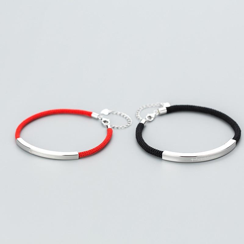 La Monada 925 Sterling Silver Fashion Couple Bracelets Red Line Thread String Rope Jewelry Bracelets For Women Black