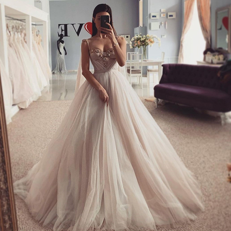 Sexy Crystals Wedding Dresses Vestidos de Noiva 2021 Princess Bride Dress Church Beach Wedding Gowns Custom Made