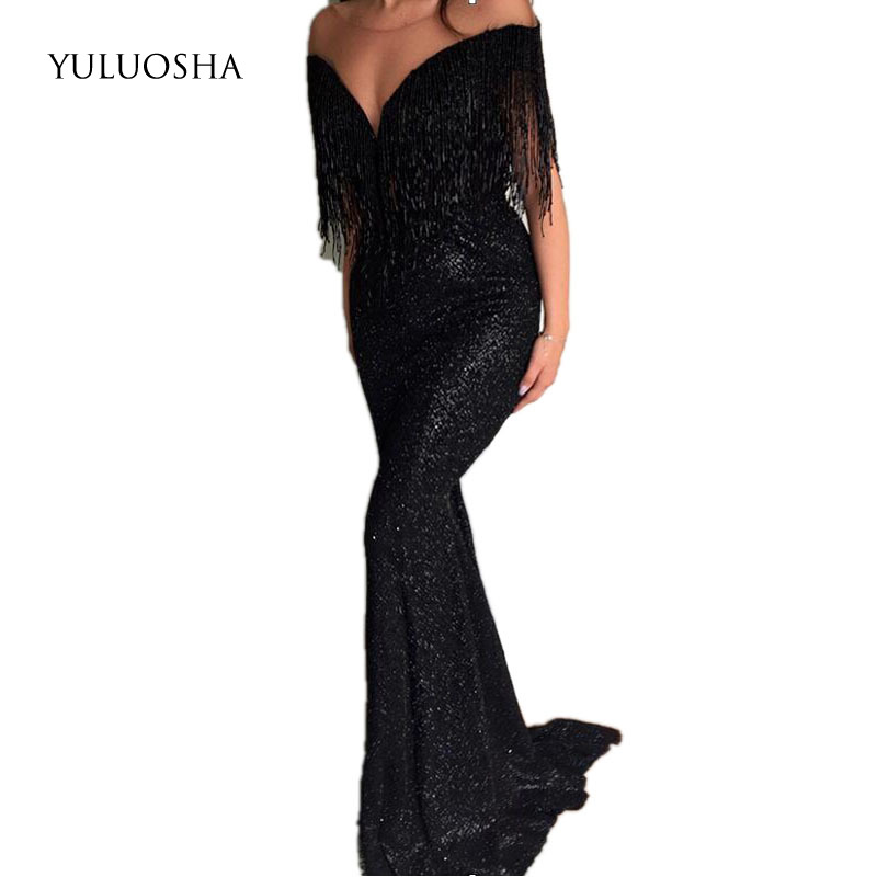 YULUOSHA 2020 New Sexy Deep V-Neck Sleeveless Tassel Evening Dresses Party Prom Formal Gowns Long Sequin Vestidos Robe De Soiree
