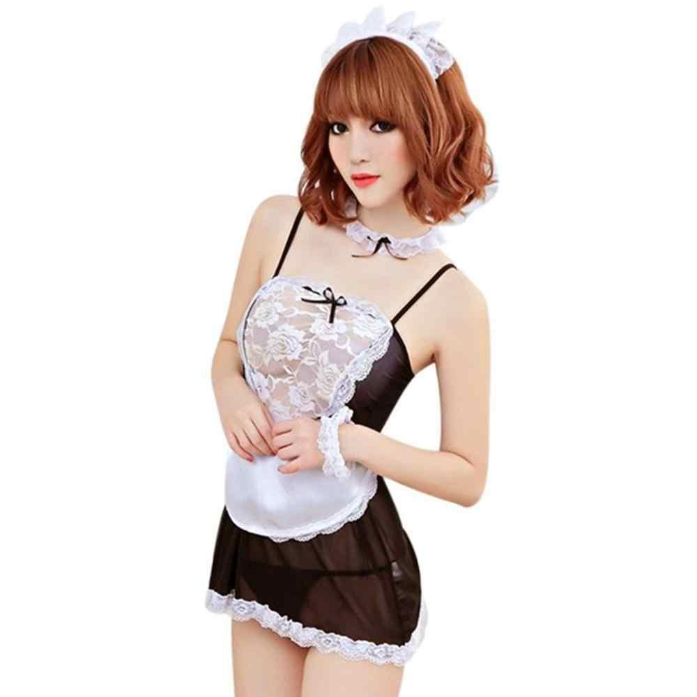 Erotische Cosplay Sexy Kant Kostuum Franse Maid Stijl Sex Cosplay Lingerie Set, Outfit Jurk met G-string, Hoofddeksels, sexy Uniform Set