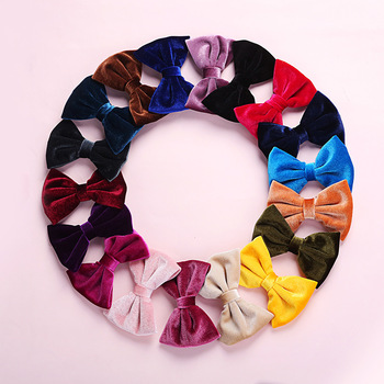 Korean Kids Velvet Hair Clip For Women Girls Hair Bows Solid Hairpins Hair Accessories Bowknot Hairpin Big Bows Barrettes image