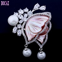 New high quality fashion brooch color shell pearl butterfly brooch micro inlaid zircon pin woman's brooch