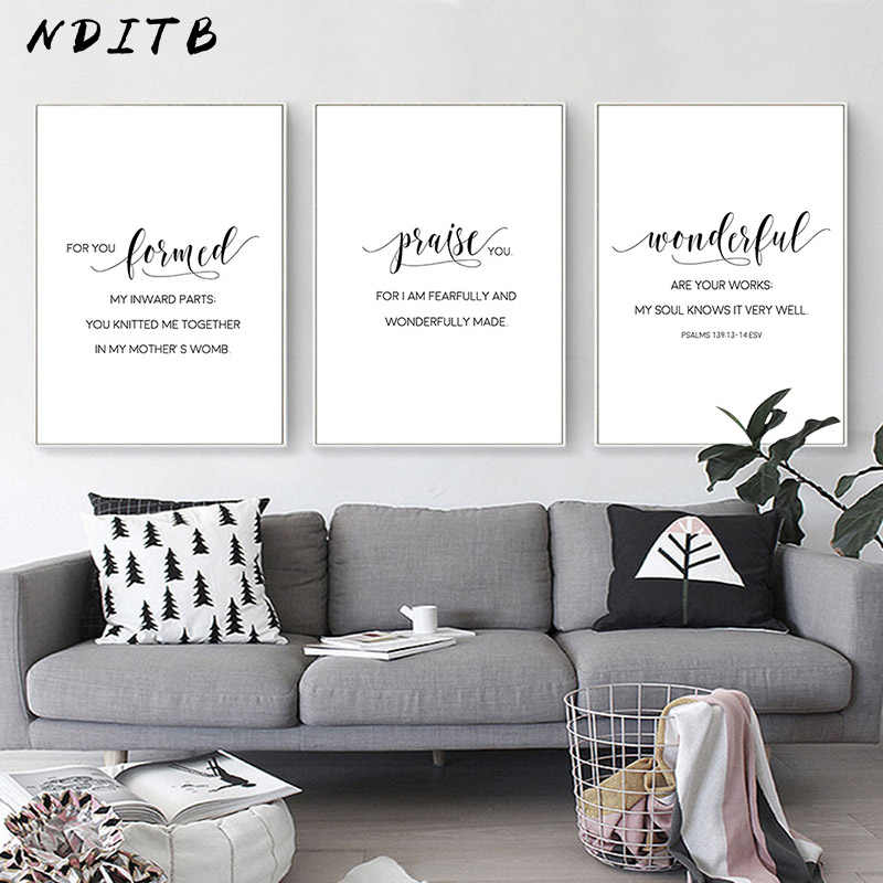 Black White Bible Verse Motivational Poster Nursery Quotes Canvas