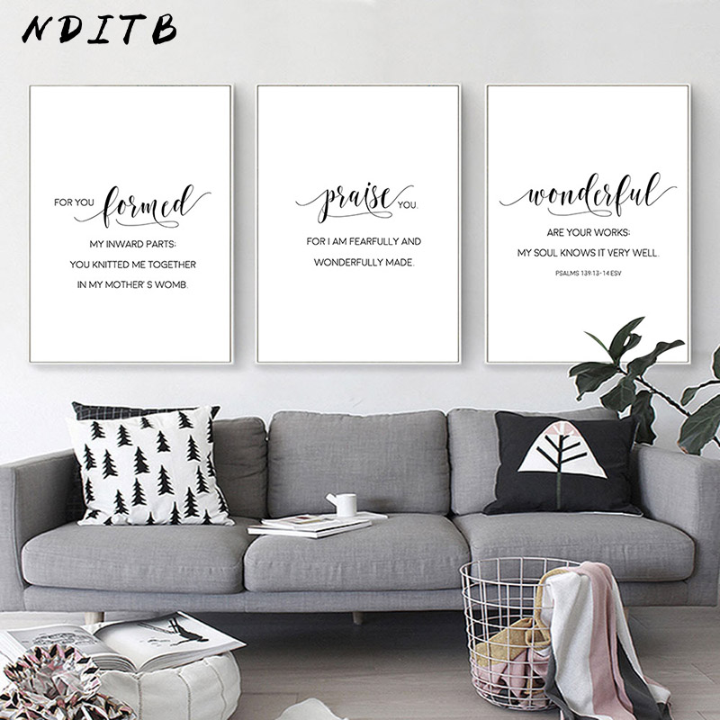 Black White Bible Verse Motivational Poster Nursery Quotes Canvas Wall Art Print Painting Minimalist Room Decoration Picture image