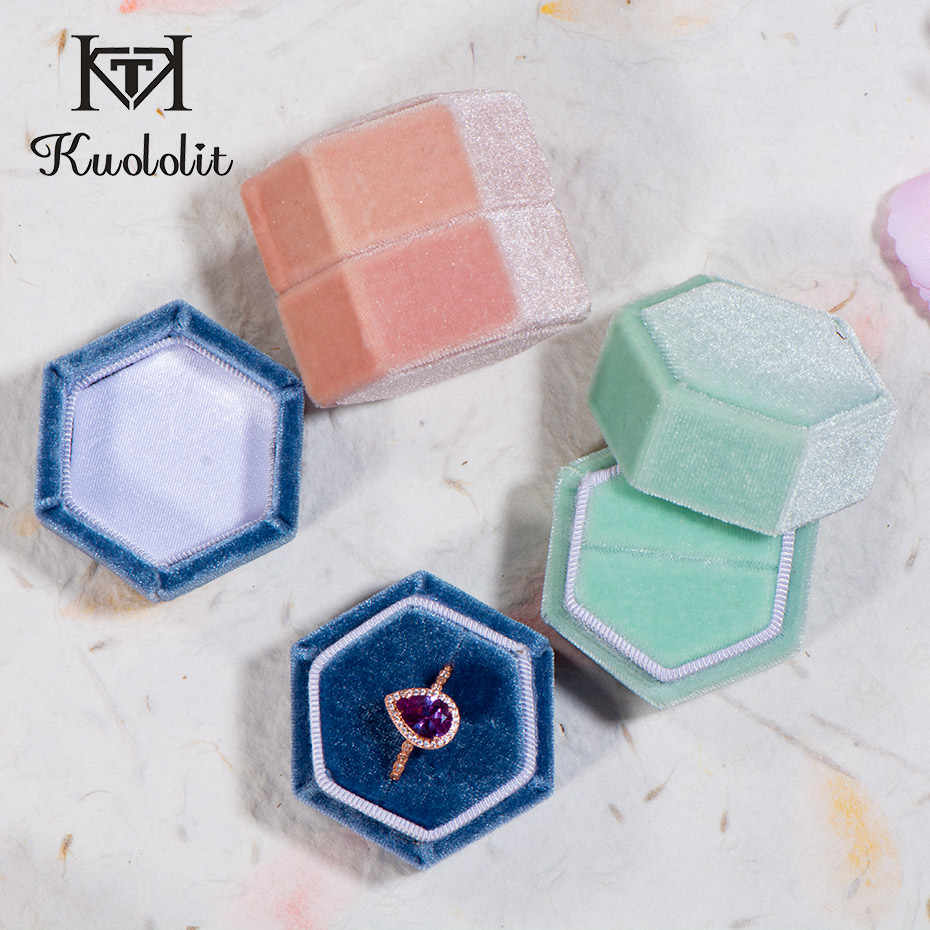 GZXSJG Hexagon Velvet Jewelry Boxes for Wedding Pink Green Blue Ring Custom Logo Box for Wedding Engagement Bridal organizer Box