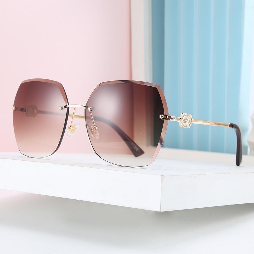 DENISA Rhinestone Glasses Leg Female Sunglasses Rimless Cat Eye Sunglasses Women 2020 New Fashion Frameless Shades UV400 50265