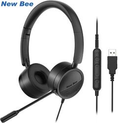 New Bee USB Headset with Microphone for PC 3.5mm Business Headsets with Mic Mute Noise Cancelling for Call Center Headphones