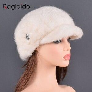 Image 4 - אופנה מינק פרווה כובע לנשים אמיתי טבעי פרווה כל למעלה אביזרי חם ברוסית חורף כובעי פרווה ליידי